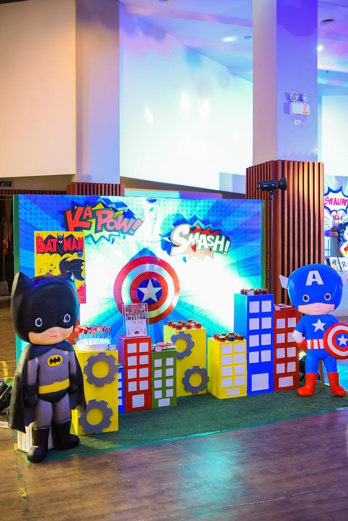 Superhero Themed Dessert Spread from a DC vs Marvel: Battle of the Universe Superhero Birthday Party on Kara's Party Ideas   KarasPartyIdeas.com (5)