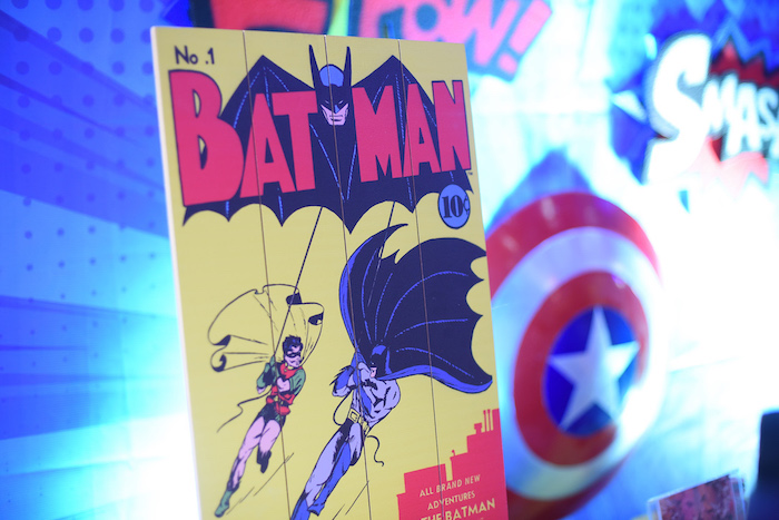 Batman Sign from a DC vs Marvel: Battle of the Universe Superhero Birthday Party on Kara's Party Ideas | KarasPartyIdeas.com (4)