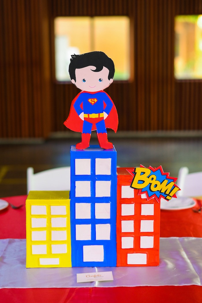 Superman Cityscape Table Centerpiece from a DC vs Marvel: Battle of the Universe Superhero Birthday Party on Kara's Party Ideas | KarasPartyIdeas.com (30)