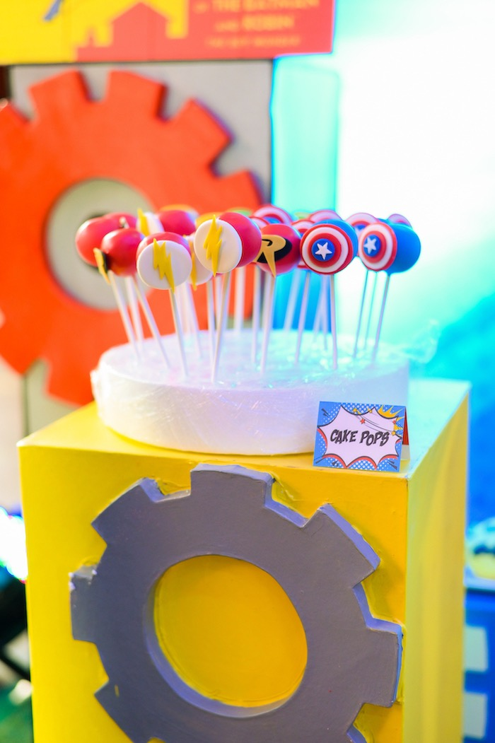 Superhero Themed Cake Pops from a DC vs Marvel: Battle of the Universe Superhero Birthday Party on Kara's Party Ideas | KarasPartyIdeas.com (29)