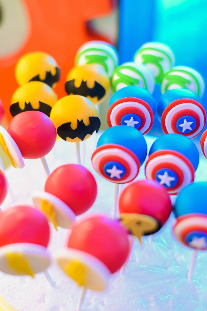 Superhero Themed Cake Pops from a DC vs Marvel: Battle of the Universe Superhero Birthday Party on Kara's Party Ideas | KarasPartyIdeas.com (28)
