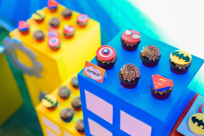 Superhero Themed Cupcakes from a DC vs Marvel: Battle of the Universe Superhero Birthday Party on Kara's Party Ideas | KarasPartyIdeas.com (27)