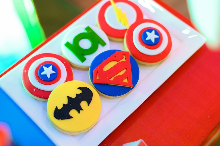 Superhero Themed Cookies from a DC vs Marvel: Battle of the Universe Superhero Birthday Party on Kara's Party Ideas | KarasPartyIdeas.com (26)