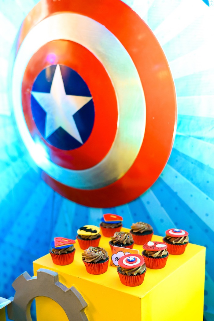 Superhero Themed Cookies from a DC vs Marvel: Battle of the Universe Superhero Birthday Party on Kara's Party Ideas | KarasPartyIdeas.com (25)