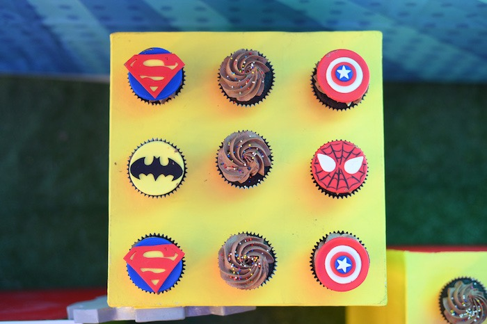 Superhero Themed Cupcakes from a DC vs Marvel: Battle of the Universe Superhero Birthday Party on Kara's Party Ideas | KarasPartyIdeas.com (24)