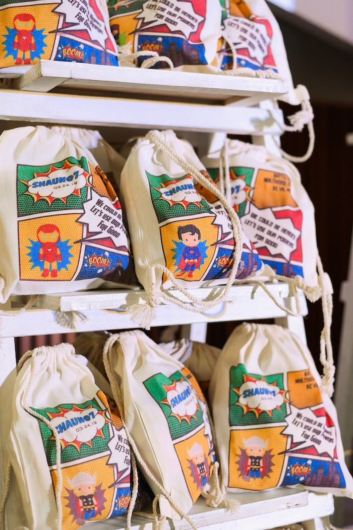 Drawstring Superhero Favor Bags from a DC vs Marvel: Battle of the Universe Superhero Birthday Party on Kara's Party Ideas | KarasPartyIdeas.com (23)