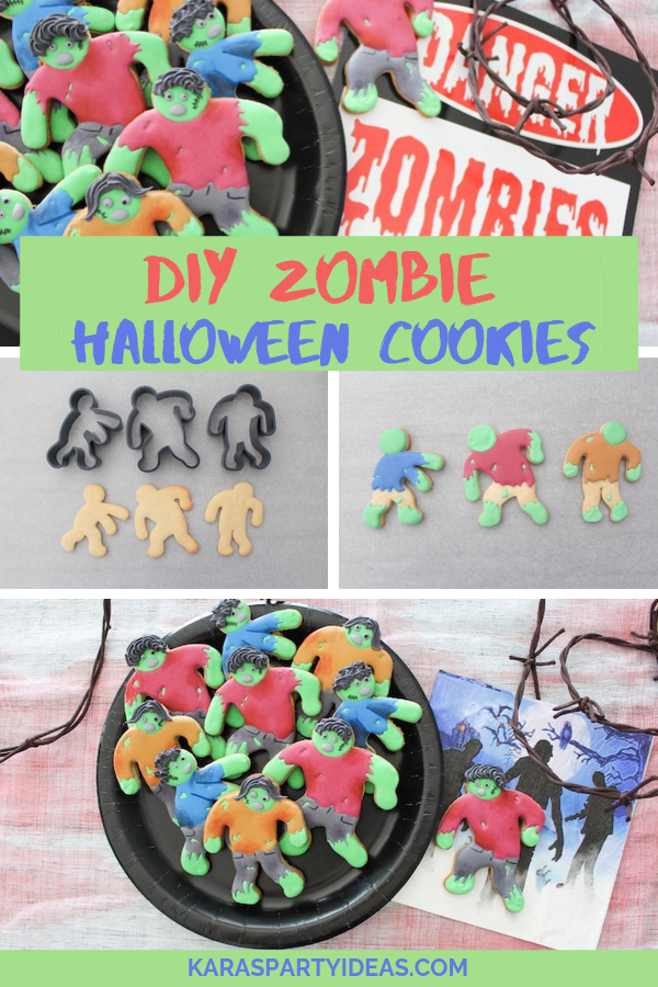DIY Zombie Halloween Cookies via KarasPartyIdeas - KarasPartyIdeas.com