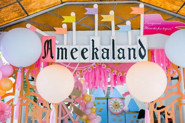 Flag Entrance Arch from a Disneyland Princesses Birthday Party on Kara's Party Ideas | KarasPartyIdeas.com (10)