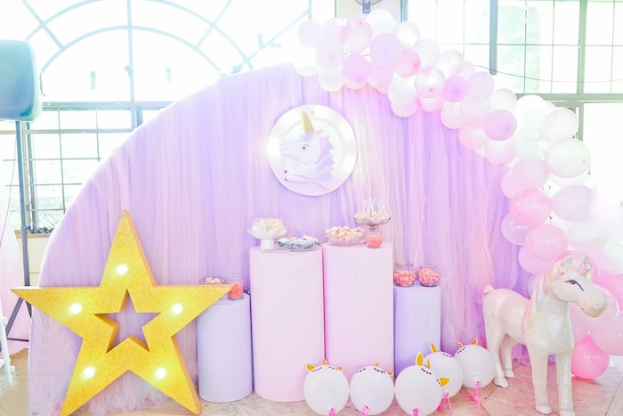 Unicorn Themed Pedestal Dessert Spread from a Dreamy Unicorn Birthday Party on Kara's Party Ideas | KarasPartyIdeas.com (9)