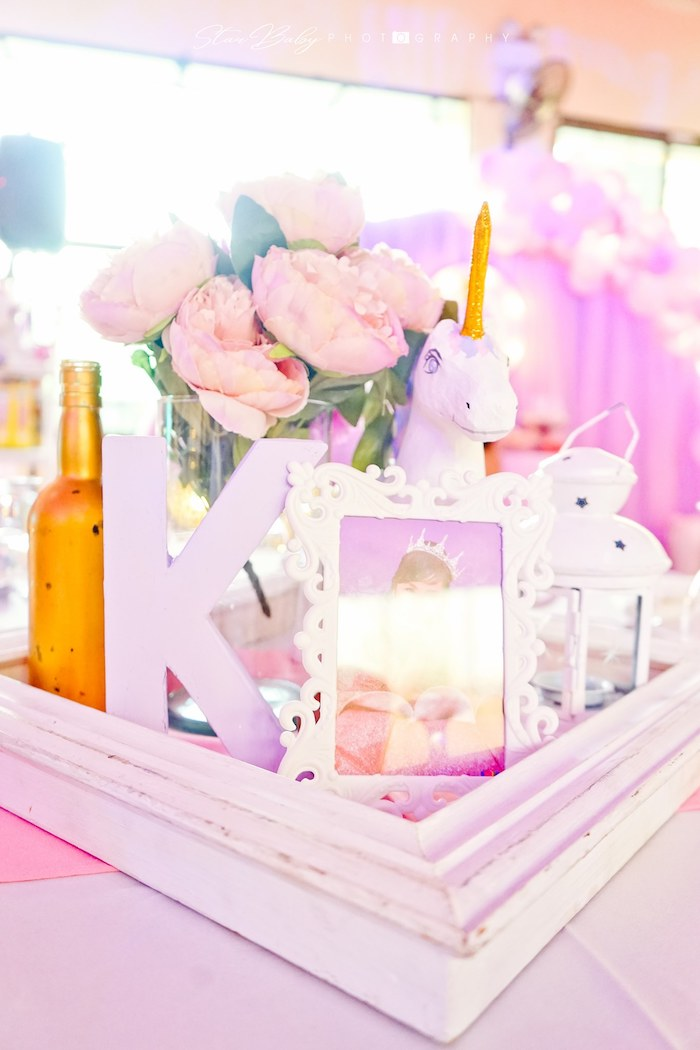 Unicorn Themed Table Centerpiece from a Dreamy Unicorn Birthday Party on Kara's Party Ideas | KarasPartyIdeas.com (7)