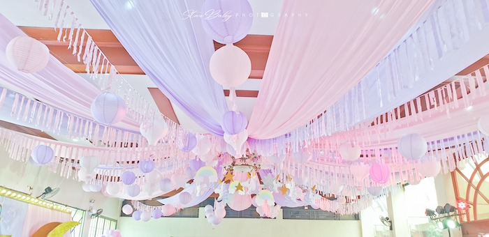 Pink + Purple Star-adorned Ceiling from a Dreamy Unicorn Birthday Party on Kara's Party Ideas | KarasPartyIdeas.com (6)