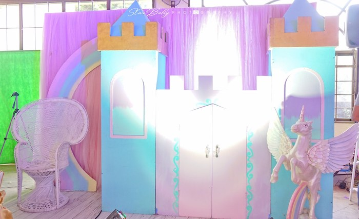 Castle Backdrop from a Dreamy Unicorn Birthday Party on Kara's Party Ideas | KarasPartyIdeas.com (5)