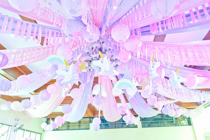 Unicorn Themed Party Ceiling from a Dreamy Unicorn Birthday Party on Kara's Party Ideas | KarasPartyIdeas.com (4)