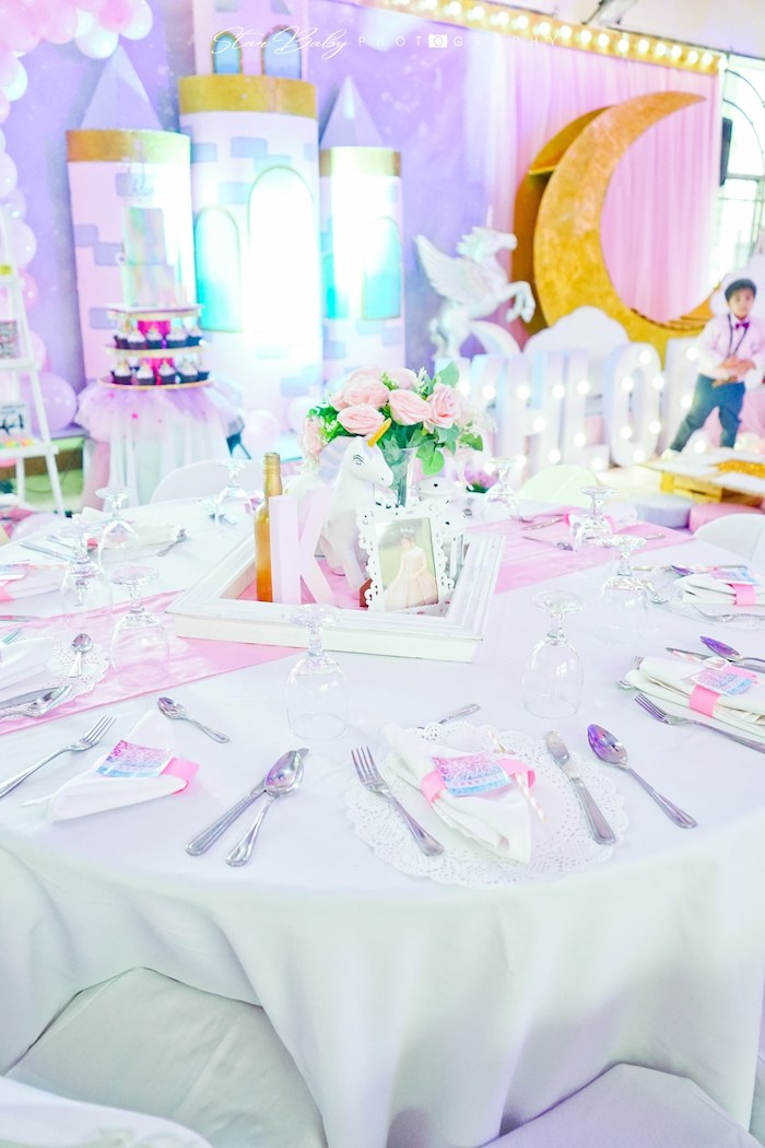 Guest Table from a Dreamy Unicorn Birthday Party on Kara's Party Ideas | KarasPartyIdeas.com (18)