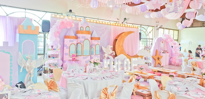 Guest Tables + Backdrop from a Dreamy Unicorn Birthday Party on Kara's Party Ideas | KarasPartyIdeas.com (10)