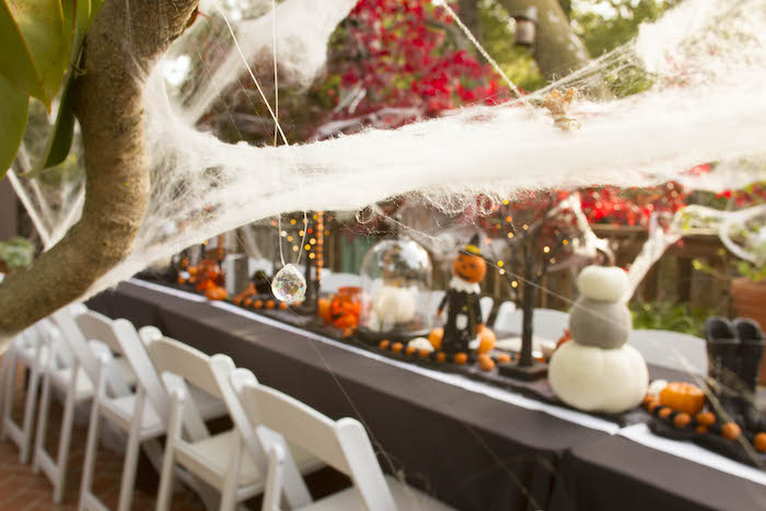 Spider Web Decor from an Enchanting Backyard Halloween Party on Kara's Party Ideas | KarasPartyIdeas.com (10)