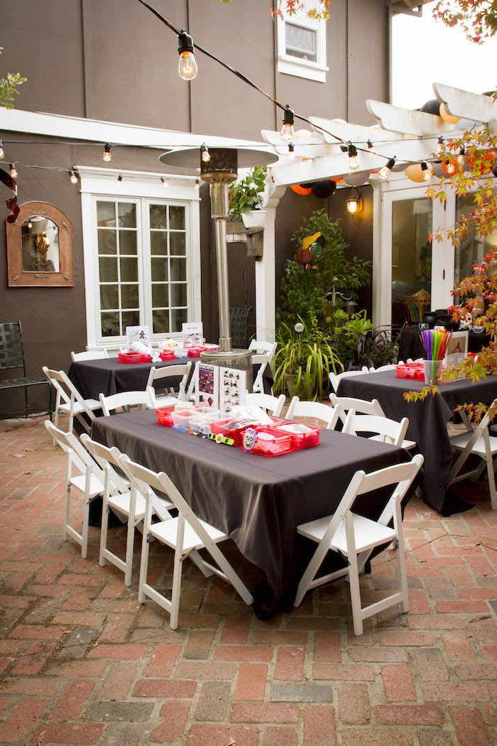 Halloween Activity Tables from an Enchanting Backyard Halloween Party on Kara's Party Ideas | KarasPartyIdeas.com (9)