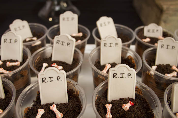 Graveyard Pudding Cups from an Enchanting Backyard Halloween Party on Kara's Party Ideas | KarasPartyIdeas.com (8)