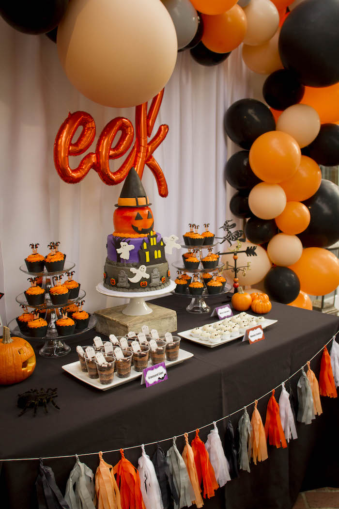 Halloween Themed Dessert Table from an Enchanting Backyard Halloween Party on Kara's Party Ideas | KarasPartyIdeas.com (7)
