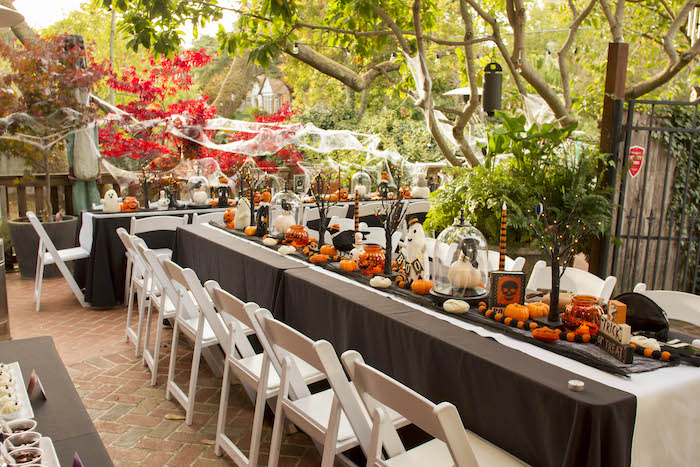 Halloween Dining Table from an Enchanting Backyard Halloween Party on Kara's Party Ideas | KarasPartyIdeas.com (6)