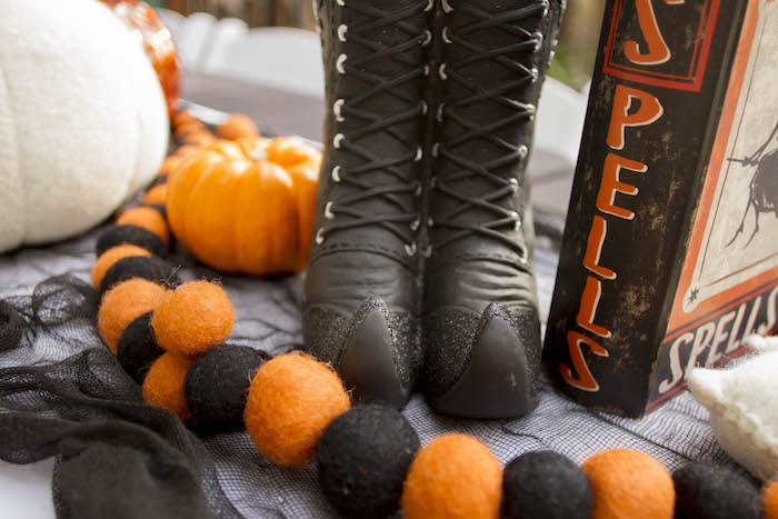 Witch Boots + Spell Book Decorations from an Enchanting Backyard Halloween Party on Kara's Party Ideas | KarasPartyIdeas.com (19)