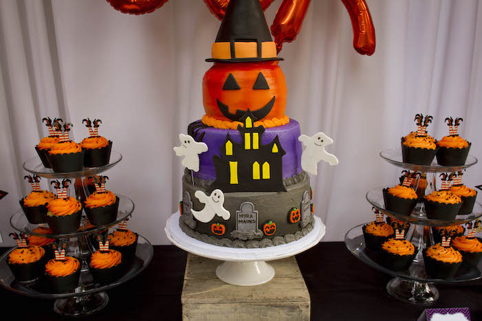 Halloween Cake from an Enchanting Backyard Halloween Party on Kara's Party Ideas | KarasPartyIdeas.com (17)