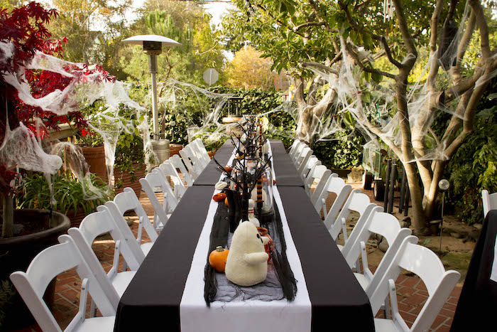 Halloween Party/Guest Table from an Enchanting Backyard Halloween Party on Kara's Party Ideas | KarasPartyIdeas.com (15)