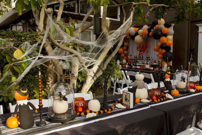 Halloween Party Table from an Enchanting Backyard Halloween Party on Kara's Party Ideas | KarasPartyIdeas.com (14)