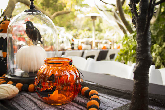 Halloween Table Centerpieces from an Enchanting Backyard Halloween Party on Kara's Party Ideas | KarasPartyIdeas.com (12)