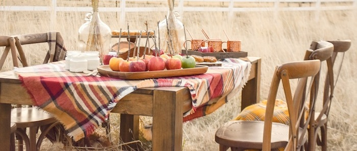 Fall Apple Dipping Party Table Spread by Kara's Party Ideas for International Delight Creamer. Sugar Free Dips.-50
