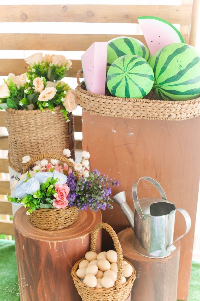 Flowers and Decor from a Farmers Market Birthday Party on Kara's Party Ideas | KarasPartyIdeas.com (10)