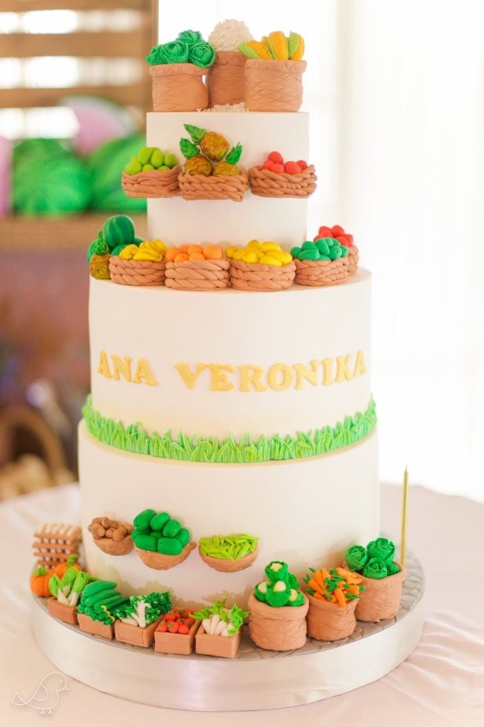 Farmers Market Themed Birthday Cake from a Farmers Market Birthday Party on Kara's Party Ideas | KarasPartyIdeas.com (9)
