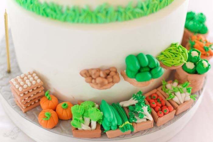 Farmers Market Themed Cake from a Farmers Market Birthday Party on Kara's Party Ideas | KarasPartyIdeas.com (8)