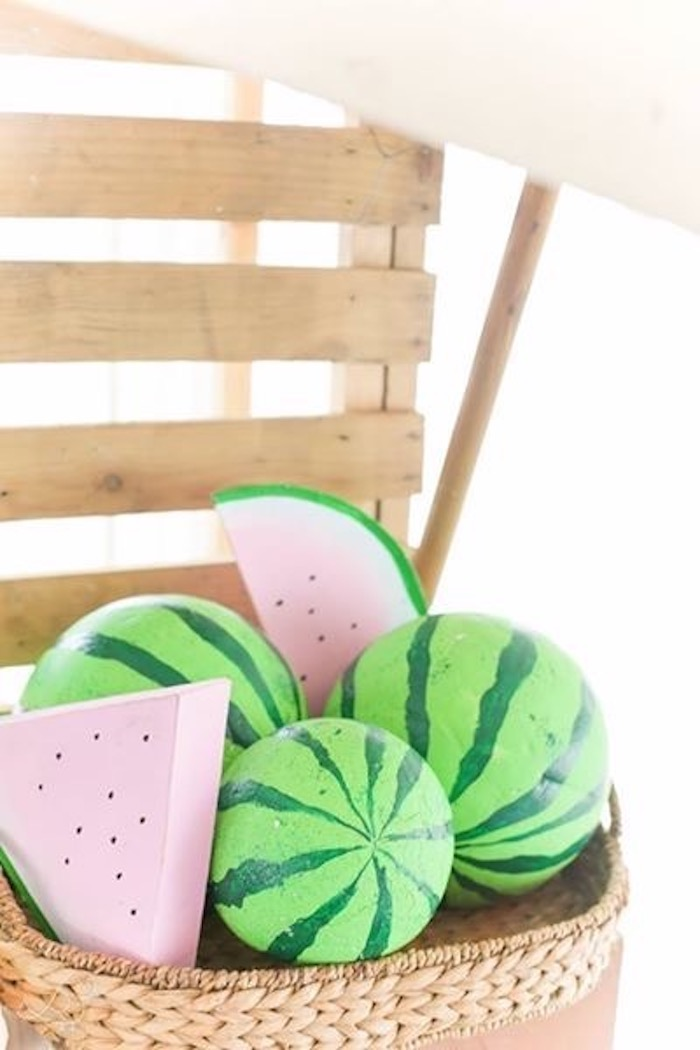 Faux Wood Watermelon Decorations from a Farmers Market Birthday Party on Kara's Party Ideas | KarasPartyIdeas.com (18)