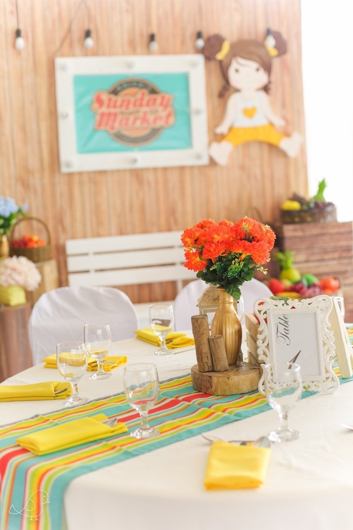 Market-inspired Guest Table from a Farmers Market Birthday Party on Kara's Party Ideas | KarasPartyIdeas.com (17)