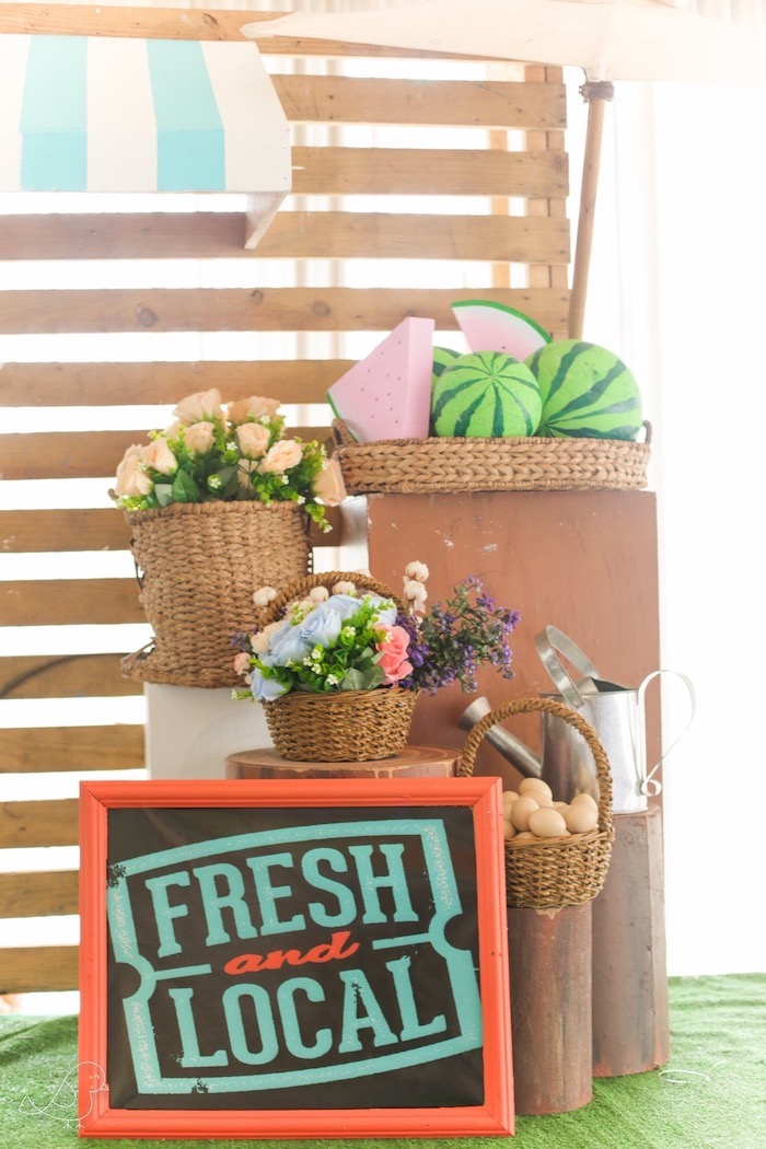 Fresh & Local - Farm Sign + Decor from a Farmers Market Birthday Party on Kara's Party Ideas | KarasPartyIdeas.com (13)