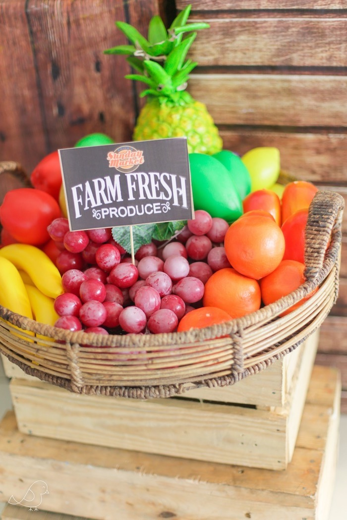 Fruit Basket from a Farmers Market Birthday Party on Kara's Party Ideas | KarasPartyIdeas.com (12)