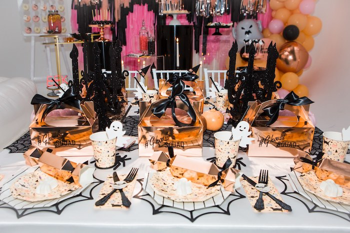 """Glam Halloween Party Table from a Glam """"Ghouls Squad"""" Halloween Party on Kara's Party Ideas 