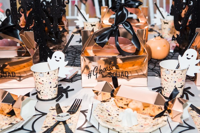 """Gold Gable Box Halloween Table Setting from a Glam """"Ghouls Squad"""" Halloween Party on Kara's Party Ideas 