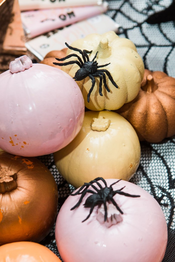 """Spiders and Pumpkins from a Glam """"Ghouls Squad"""" Halloween Party on Kara's Party Ideas 