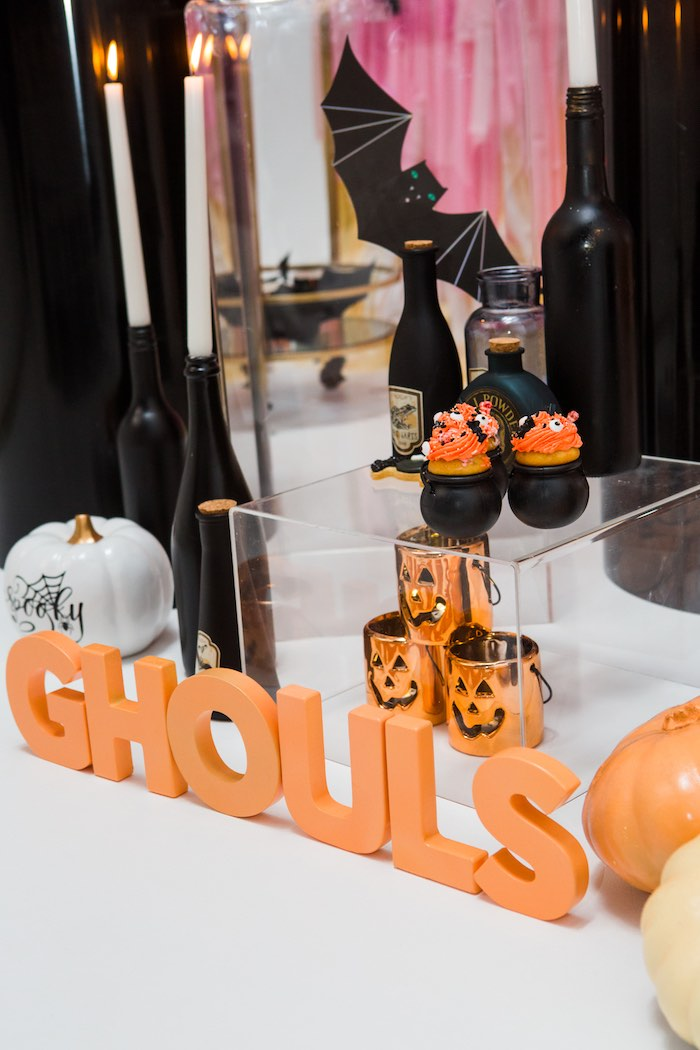 """Ghouls Lettering from a Glam """"Ghouls Squad"""" Halloween Party on Kara's Party Ideas 