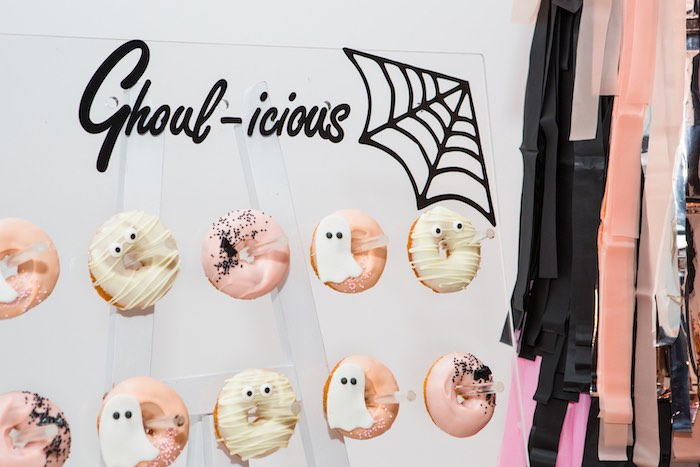 """Ghoul-icious Donuts + Donut Board from a Glam """"Ghouls Squad"""" Halloween Party on Kara's Party Ideas 