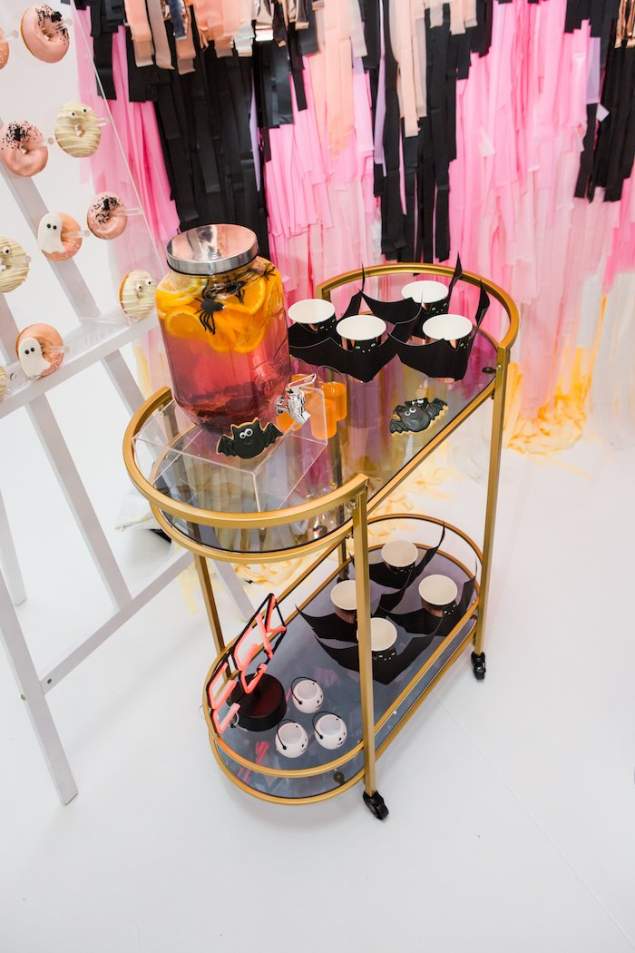 """Halloween Drink Cart from a Glam """"Ghouls Squad"""" Halloween Party on Kara's Party Ideas 