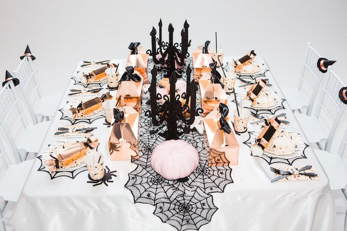 """Glam Monochromatic Halloween Party Table from a Glam """"Ghouls Squad"""" Halloween Party on Kara's Party Ideas 