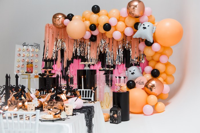 """Glam Halloween Themed Dessert Spread from a Glam """"Ghouls Squad"""" Halloween Party on Kara's Party Ideas 