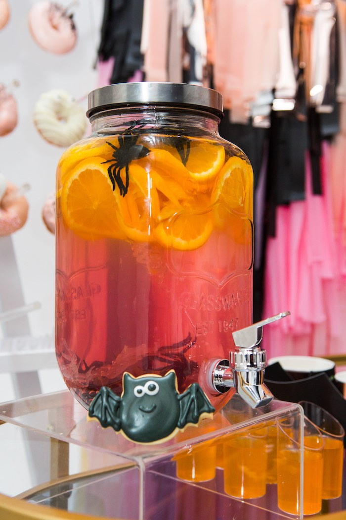 """Mason Jar Halloween-inspired Beverage Dispenser from a Glam """"Ghouls Squad"""" Halloween Party on Kara's Party Ideas 