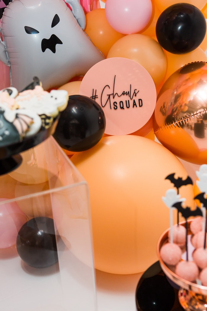 """Ghoul Squad Balloon Garland from a Glam """"Ghouls Squad"""" Halloween Party on Kara's Party Ideas 