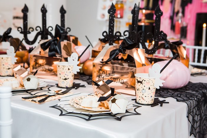 """Glam Halloween Party Table + Table Settings from a Glam """"Ghouls Squad"""" Halloween Party on Kara's Party Ideas 