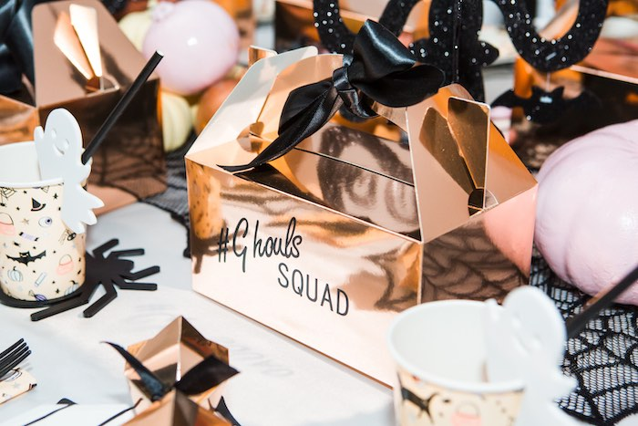 """Gold """"Ghouls Squad"""" Gable Box from a Glam """"Ghouls Squad"""" Halloween Party on Kara's Party Ideas 