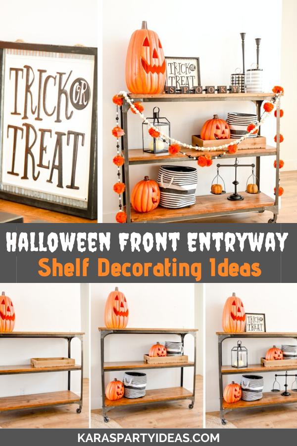 Halloween Front Entryway Shelf Decorating Ideas via Kara's Party Ideas - KarasPartyIdeas.com